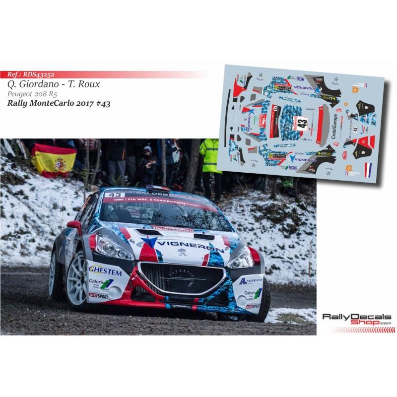 DECALS 1//43 REF 2130 PEUGEOT 208 ALTHAUS Rallye Monte Carlo 2020